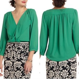 Anthropologie Maeve Parted a Ruffle blouse